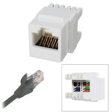 White Cat 6 RJ45 8P8C  Punchdown Keystone Modular Ethernet Snap-in Jack Network