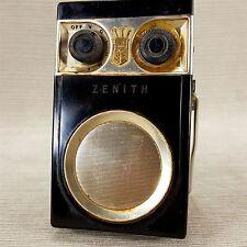 Zenith ROYAL 500 Tubeless Black Gold Transistor Radio Vtg w/ Easel Stand WORKS