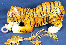 Tiger Cub with Pacifier Jeweled Pewter Trinket Box Sealife with Necklace