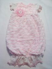 cachcach infant sz 0-3M pink white lace layette  Sac Dress gown