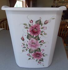 HP ROSES/SHABBY TO CHIC/WASTE PAPER BASKET/NEW ITEM/PINK & BURGUNDY ROSES