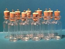 20 Small Glass Bottles Vials With Corks And Eye pins 4ml, 1.5 Inches, Craft