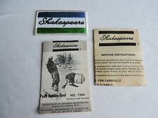 Vintage SHAKESPEARE Embroidered Fabric Patch FISHING &  7504 reel instructions
