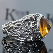 Silver Ring Citrine Men Sterling 925 unique handcrafted Artisan Jewelry
