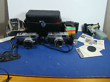 TWO Canon QL17 Canonet Rangefinder camera w lens & flash ETC. as Seen in Photos