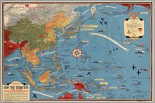 1942 WW2 JAPAN ASIA PACIFIC WAR AUSTRALIA PLANE MILITARY MAP Propaganda Postcard