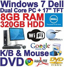 "Windows 7 Dell Dual Core Desktop & 17"" TFT PC Computer - 8GB RAM - 320GB - Wi-Fi"