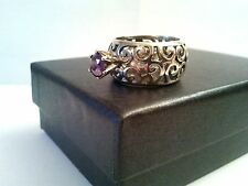 Beautiful 925 Sterling Silver vintage solitaire purple CZ ring sz 7 Israel made