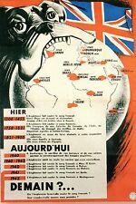 WW2 - Photo affiche française 1942 (Vichy) - Hier - Aujourd'hui - Demain?