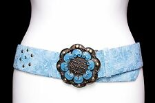 Ladies Blue Belt with Large Round Antique Gold & Blue Metal Buckle
