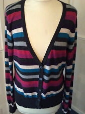 LAURA ASHLEY .. STRIPED CARDIGAN .. MULTI COLOUR .. UK SIZE 16 .. V. GENTLY WORN