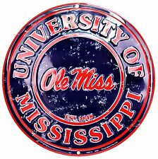 "University of Mississippi Ole Miss Rebels Embossed Metal 12"" Circle Sign"
