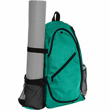 LISH Crossbody Yoga Mat Carrier Gym Travel Pilates Sling Backpack Bag (Emerald)