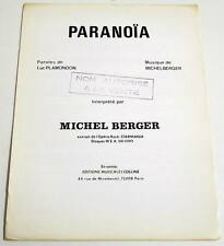 Partition vintage sheet music MICHEL BERGER : Paranoïa * 70's Promo STARMANIA