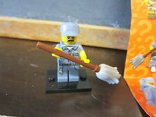 LEGO minifig minifigures series 15 janitor mop stick mustache hat dirt cleaner