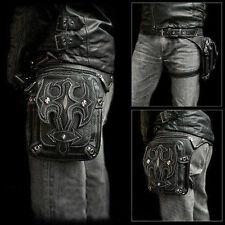 Men Retro Leather Waist Fanny Leg Bag Motorcycle Rider Punk Rock Messenger Pack