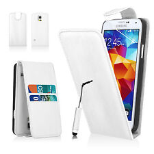 Vertical Flip Card Pocket Leather Case Cover Pouch For Samsung Phones +Stylus