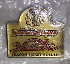 PORTLAND WINTER HAWKS Y2K SEASON TICKET HOLDER PIN, New