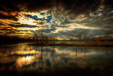 Framed Print - Cloudy & Sunny Skies Over a Still Calm Lake (Picture Poster Art)