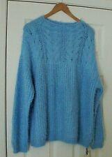 "GREAT ""INTUITION"" HYACINTH BLUE LUXURY SOFT YARN FLUFFY CABLE KNIT JUMPER UK 20"