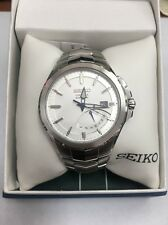 Seiko Coutura Mens Kinetic Stainless Steel Silver SRN063.U.S. Seller*