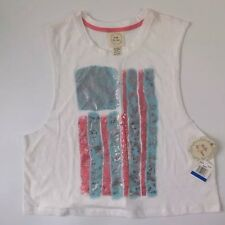 NEW BELLE DU JOUR America Flag T Shirt - XL Tank White Coral Gold USA Stripe Top
