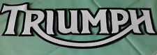 TRIUMPH MOTORCYCLES 13 INCH PATCH WHITE LETTERING WITH BLACK SYNTHETIC LEATHER
