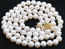 7-8mm Real Natural White Akoya Cultured Pearl Jewelry Necklace 25""