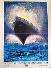 """CANNES FILM FESTIVAL 1982  ORIGINAL OFFICIAL POSTER approx 65"""" x 47"""" on linen"""