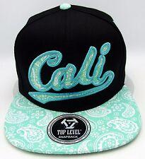 CALI Snapback Cap Hat California Republic Black Tiffany Blue Paisley OSFM NWT