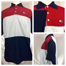 Vintage 90s Tommy Hilfiger Sz L Polo Shirt Flag Embroidered Sailing Mens Large