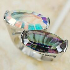 SALE! SIZE 11 New 9x17m Rainbow Topaz(lab) Lady's Lady Sterling Silver Fill Ring