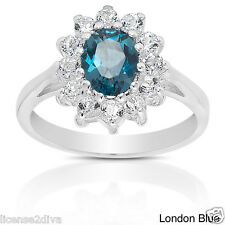 STERLING SILVER LONDON BLUE & WHITE TOPAZ RING! .925! DARK BLUE! SIZE 6! NEW!