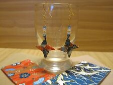 Japanese Paper Washi Origami Syuriken Dangle Pierce Ninja Earrings Handmade