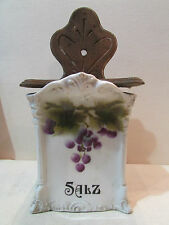 ancienne boite murale faience alsacienne art nouveau 1900 raisin sel salz