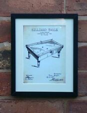 USA Patent Drawing BILLIARD SNOOKER TABLE sport MOUNTED PRINT 1880 Gift Xmas