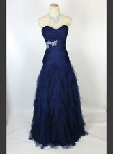 New Authentic Jovani 13459 Navy Ruched-Bodice Prom Bridal Wedding Ball Gown 6