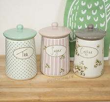 Set of 3 Katie Alice Cottage Flower Tea Coffee Sugar Storage Jars Canisters Pots