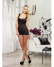 Lace-Up Back Sheer Chemise G-String 2 pc set Women Dreamgirl Black/Iris One Size