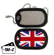 Military Dog Tags - Custom Embossed Dog Tag Set - British Flag - Union Jack