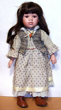"Sweet 19"" Old-Fashioned Porcelain & Cloth Doll - Brown Hair & Eyes - VGC"