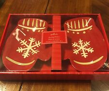 """Hallmark 'Snowflake Mittens' Serving Dishes Set Of Two 6x8.5"""" Ea, Great in Box"""