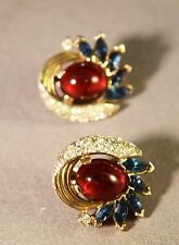 Alfred Philippe Crown Trifari Jewels of India Rhinestone Embedded Earrings!