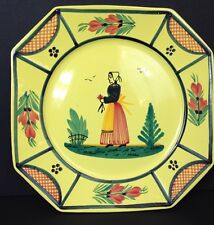 "HB Henriot Quimper Soleil Yellow Dinner Plate Woman 10"" Octagon"