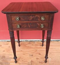 Antique American Sheraton Mahogany 2-Drawer Night Stand Writing Work Table 1800s