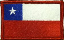 CHILE Flag Iron-On Tactical Morale Patch Red Border #09