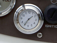 STICK-ON WHITE CLOCK WATERPROOF FOR AUTO CAR TRUCK SNOWMOBILE  BOAT CHROME