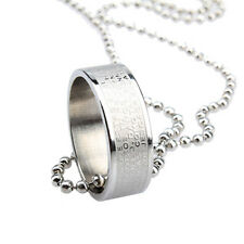 Fashion Cool Men Women Cross Ring Pendant Long Chain Necklace Silver