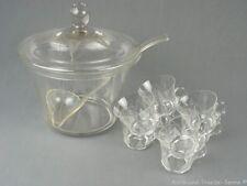 ICHENDORF Lotusblume schöne alte Glas-Bowle mit 8 Gläsern 60er Jahre