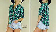 HONEY PUNCH Green PLAID Long Sleeve COTTON Boho Country Western Top Blouse S